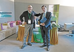 Head of the ERSCP 2017 Conference Prof. Konstantinos Aravossis University of Athens (right), and Francesco Ansaloni, ECO TILES delegate from University of Camerino (left)